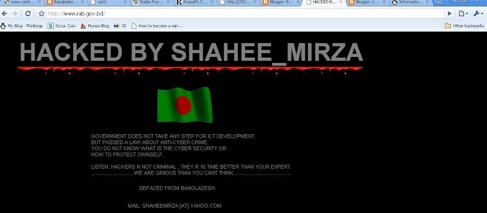 Screen of a Hacked website