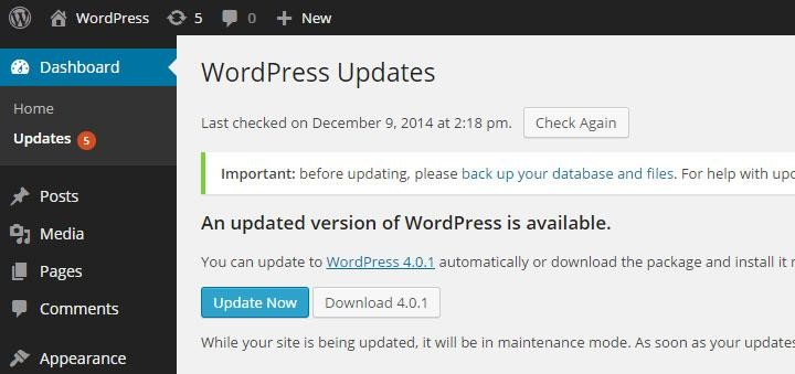WordPress admin screen showing updates available
