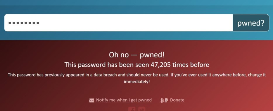 Re-used password wraning