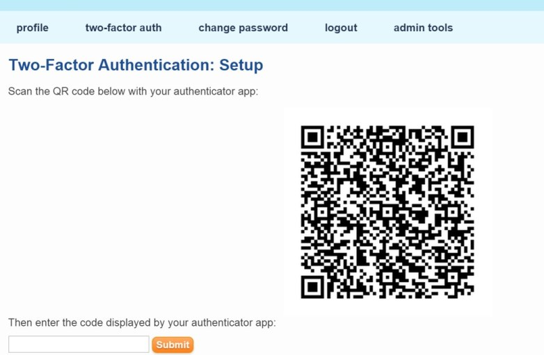 Image of QR code as part of the 2FA set up process