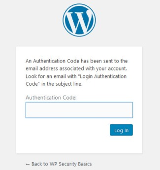 two factor authentication code field on login